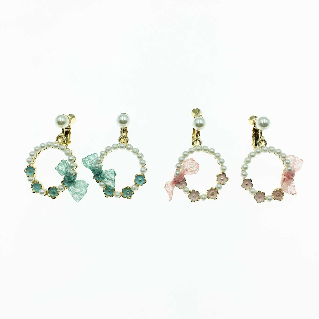韓系 珍珠花朵 粉紅 綠色 夾式耳環