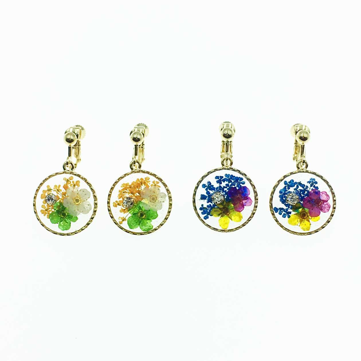 韓國  水鑽 乾燥花 夾式耳環