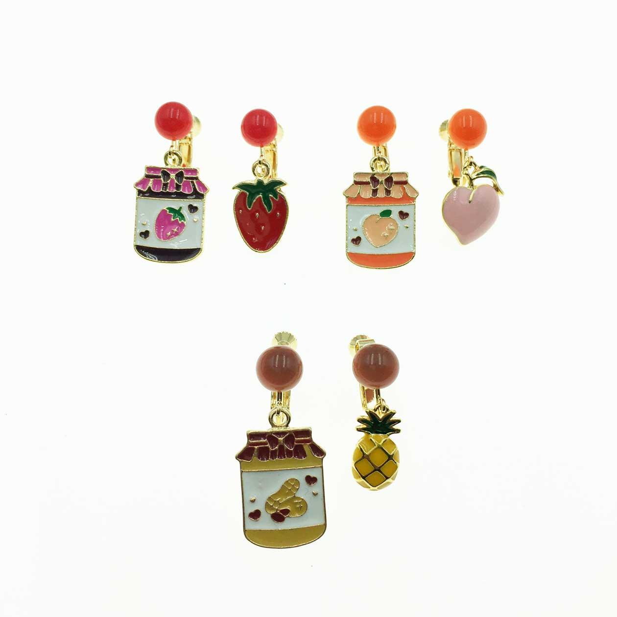 韓國 夏日鳳梨 蜜桃 草莓水果 可愛風 夾式耳環