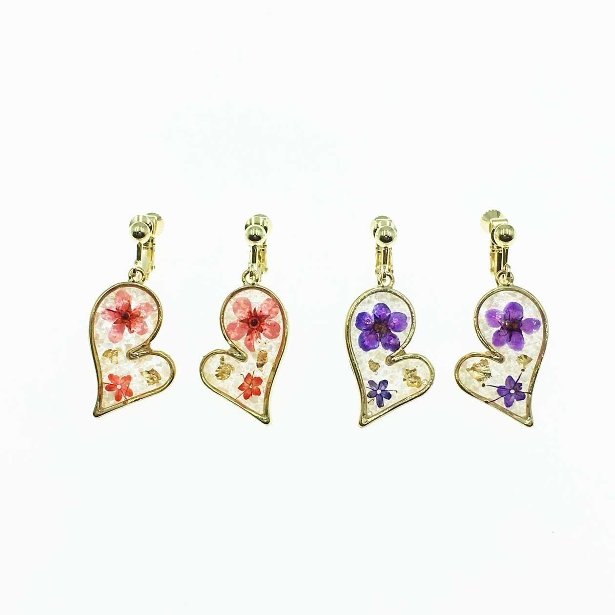 韓國 簡約百搭 花朵 紫色 粉紅 夾式耳環