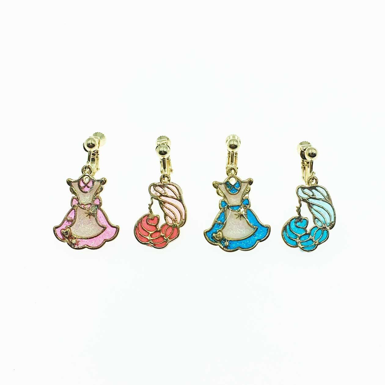 韓系 童話風 公主 洋裝  粉紅 水藍 夾式耳環