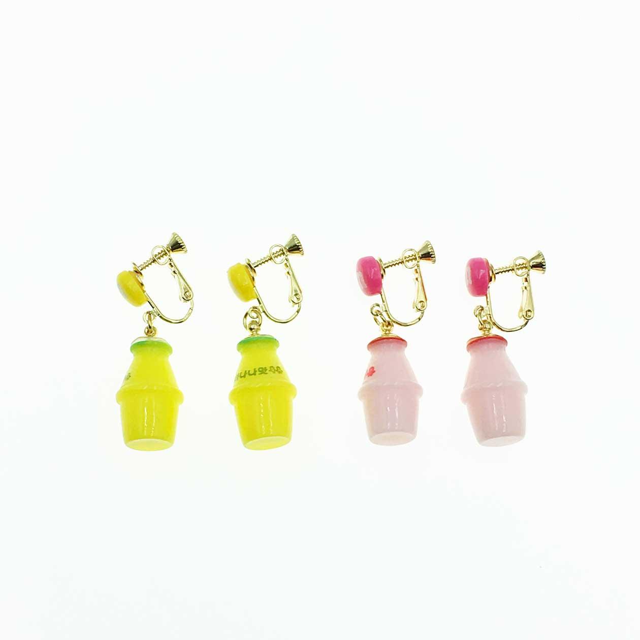 韓系 可愛俏皮 養樂多 夾式耳環