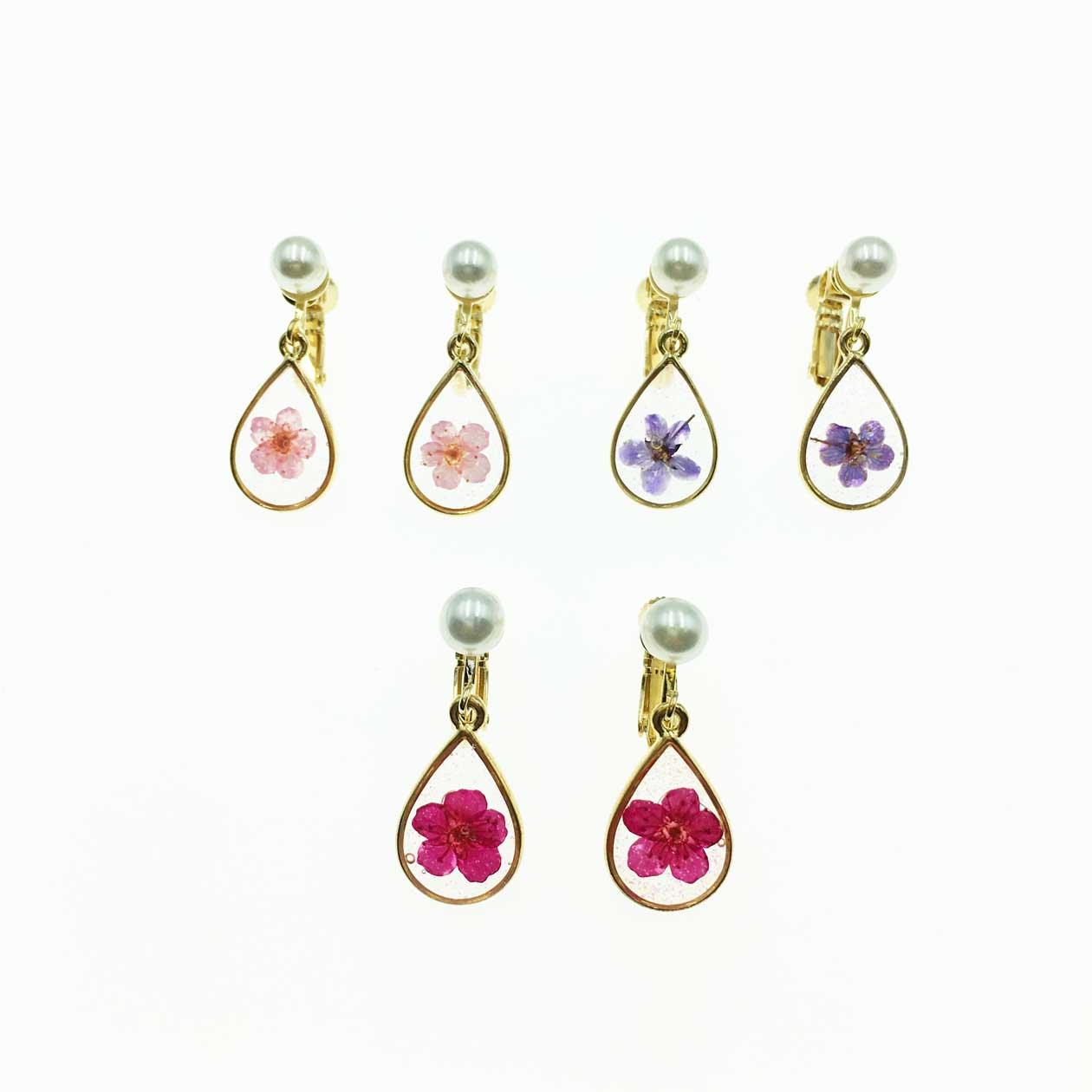 韓國 水滴系列 花瓣珍珠 紫 粉紅 桃紅 夾式耳環