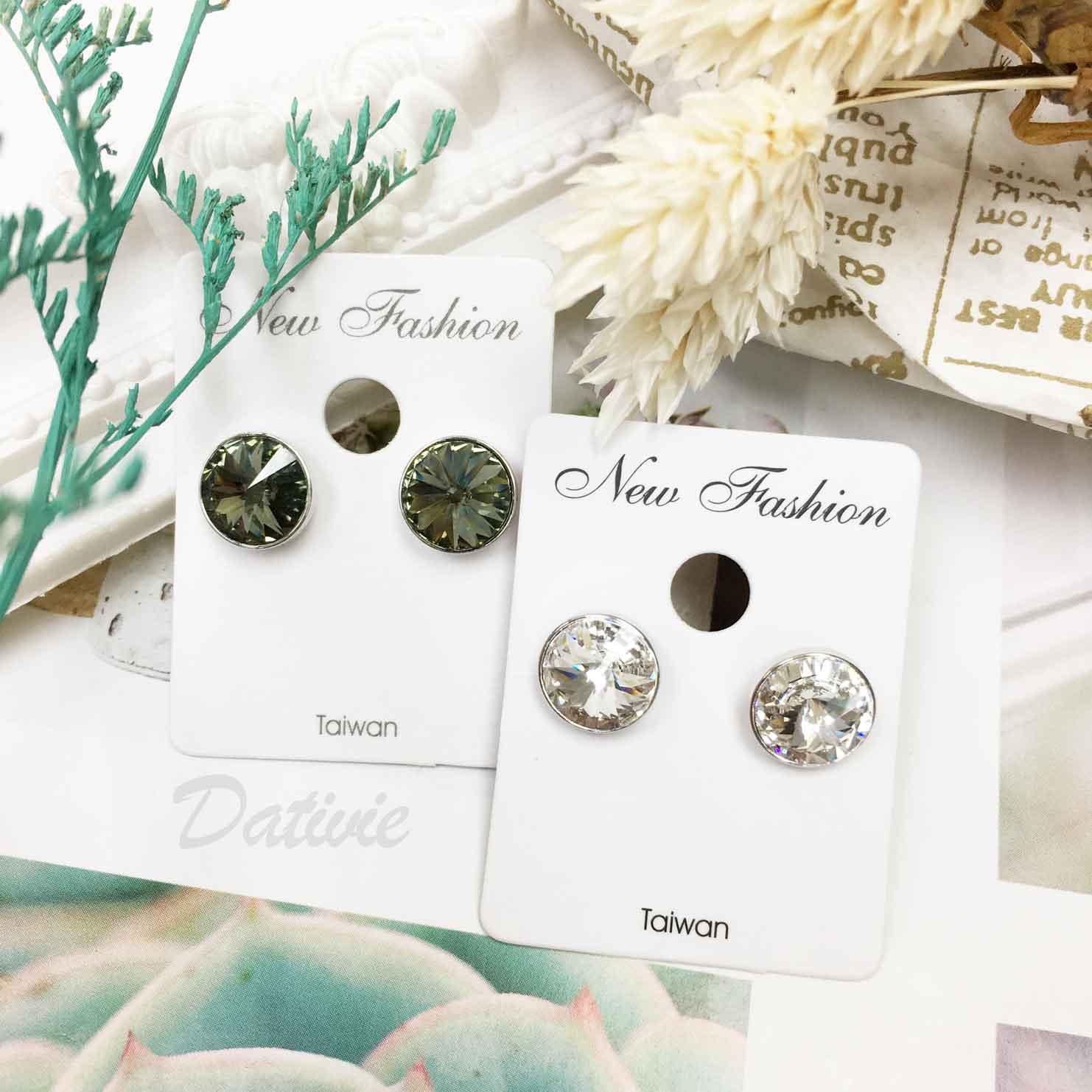 水鑽 閃耀單鑽 簡約百搭款 2色 精緻耳針式耳環