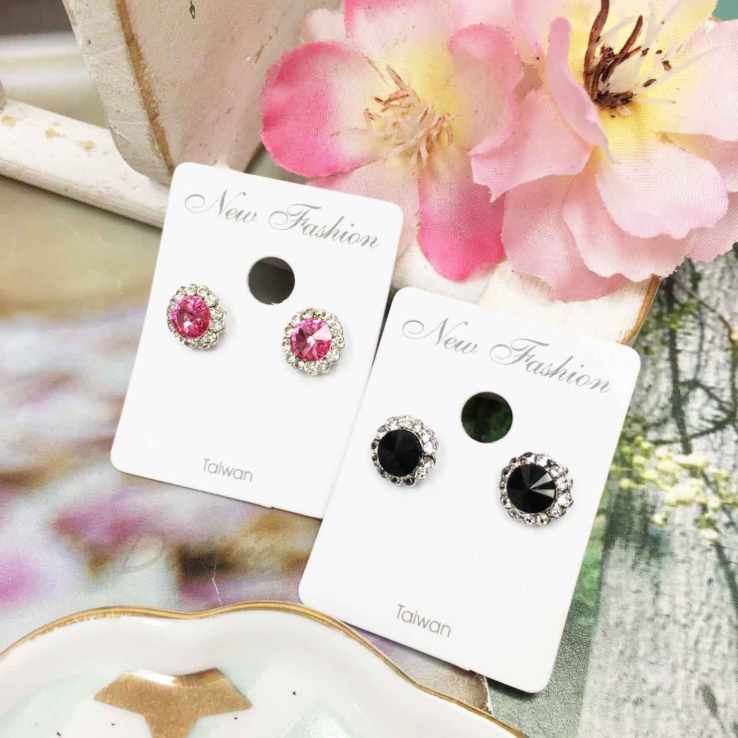 閃耀單鑽 水鑽 白鑽包邊 粉鑽黑鑽 2色 精緻耳針式耳環