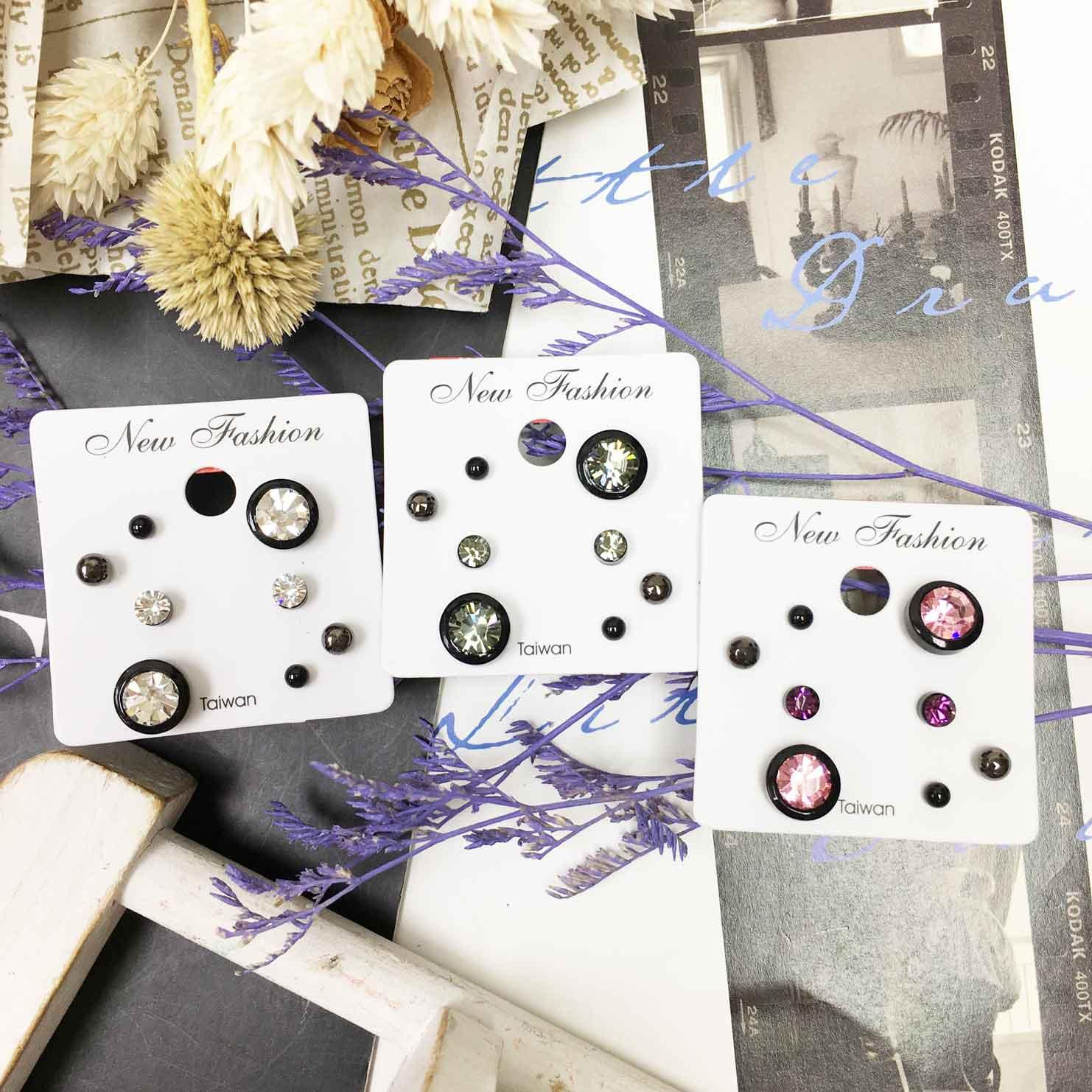 單鑽 水鑽 金屬小珠珠 四入組 3色 精緻耳針式耳環
