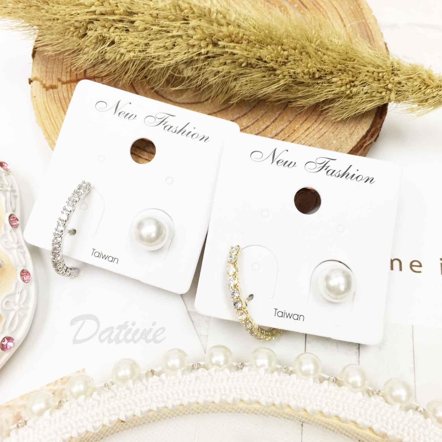 氣質珍珠 水鑽排鑽 不對稱 質感 2色 精緻耳針式耳環