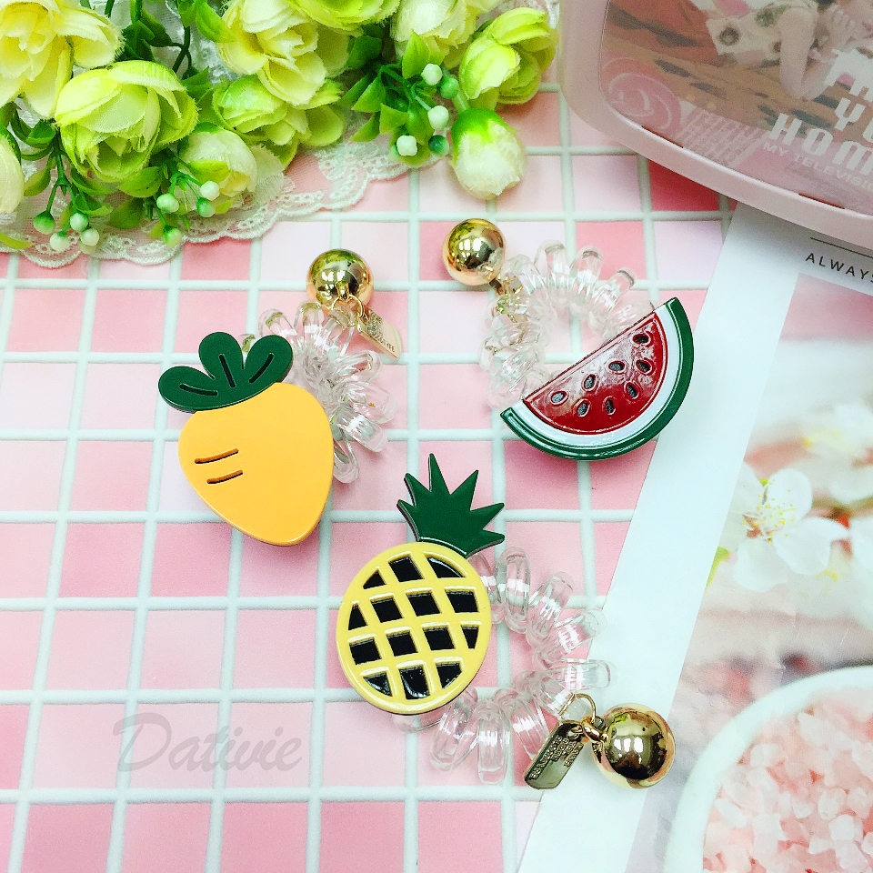 水果派對 夏日繽紛 西瓜 鳳梨 胡蘿蔔 透明電話線 珠珠髮束
