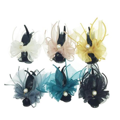 韓國 蕾絲 珍珠 蝴蝶結 6色 鯊魚夾三爪夾