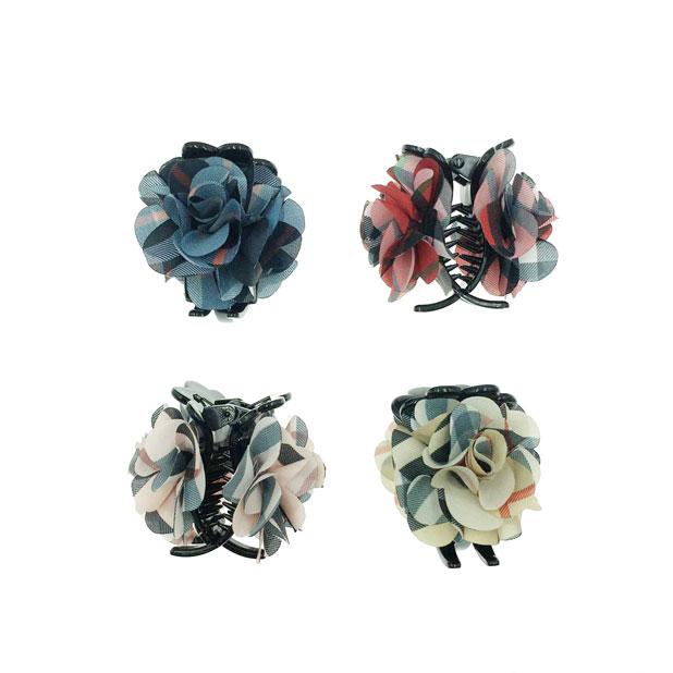 韓國 花卉系 斜條紋 玫瑰花 復古感 4色 鯊魚夾三爪夾