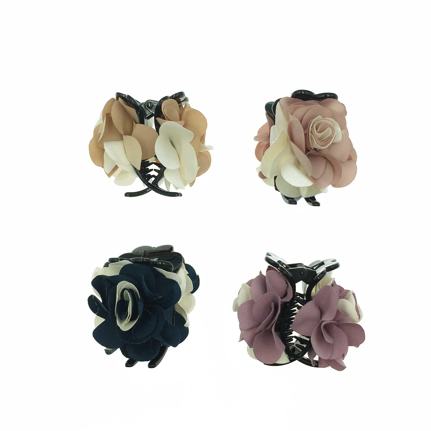 韓國 花卉系 雙色 玫瑰花 復古感 4色 鯊魚夾三爪夾