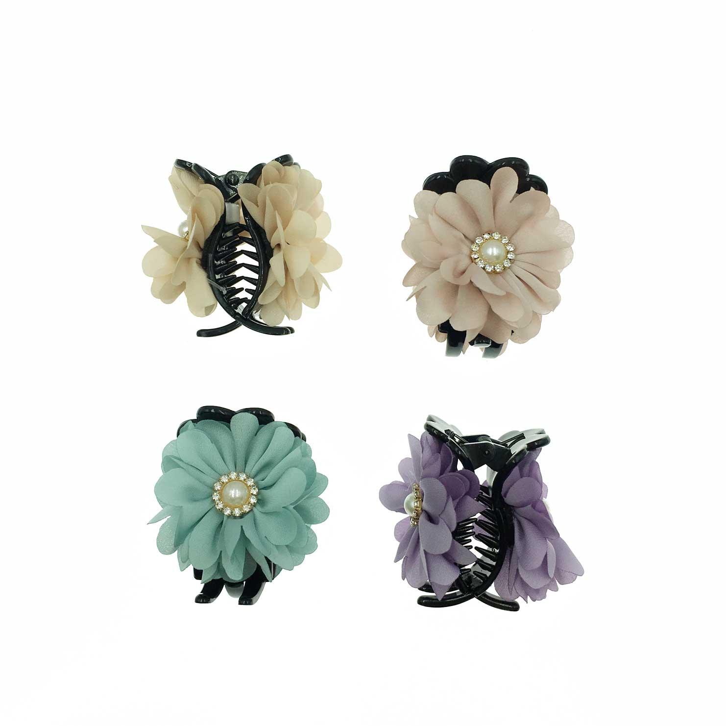 韓國 花卉系 素色 花朵 珍珠 水鑽 復古感 4色 鯊魚夾三爪夾