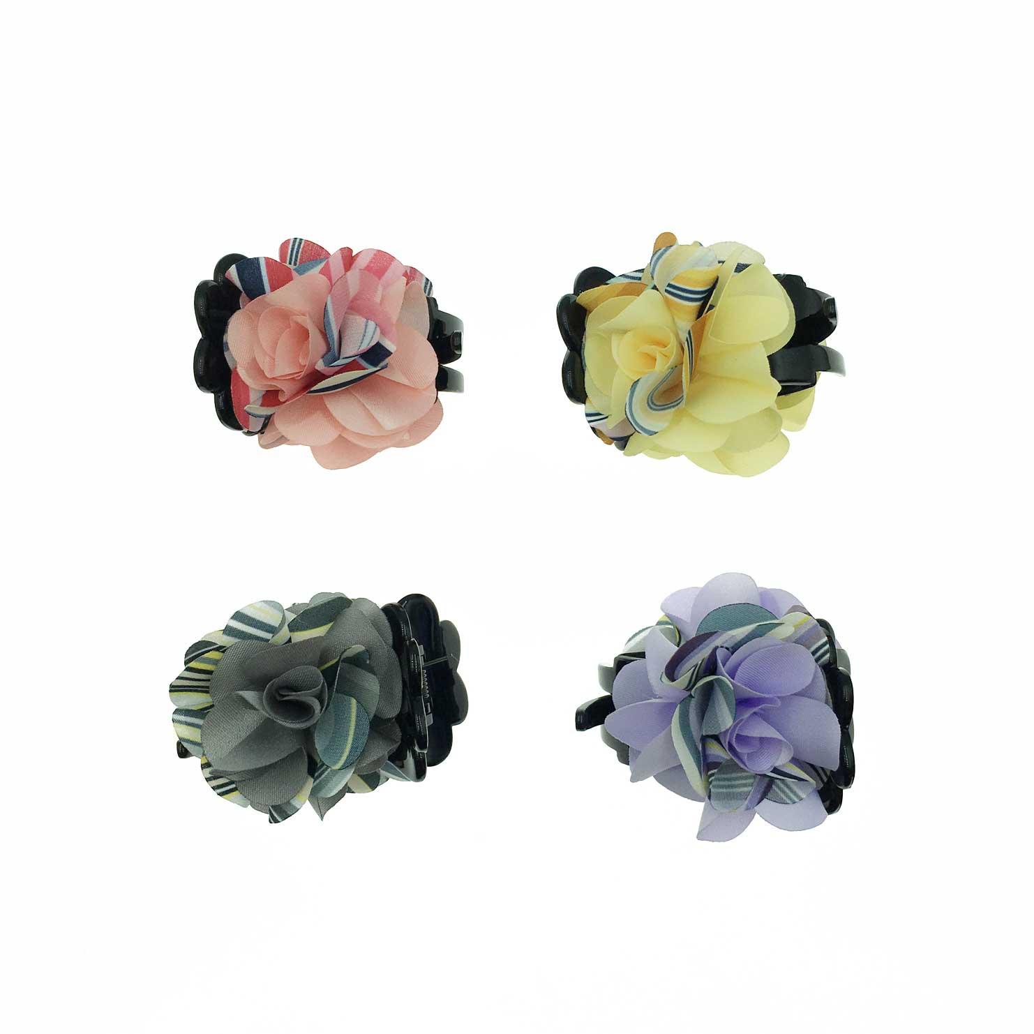 韓國 花卉系 撞色 線條小碎花 復古感 4色 鯊魚夾三爪夾