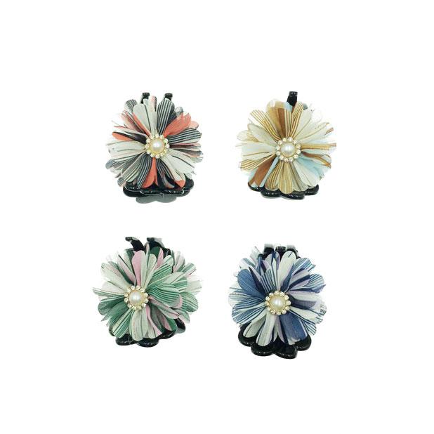 韓國 花卉系 蕾絲 珍珠 水鑽 金線 4色 鯊魚夾三爪夾
