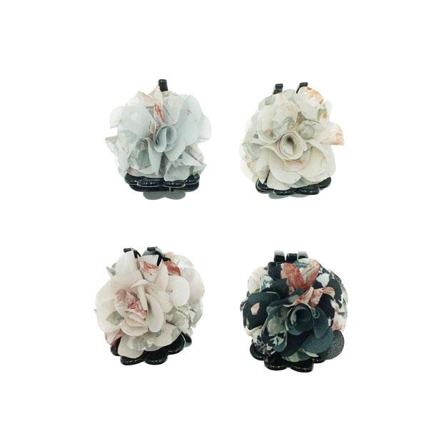 韓國 花卉系 玫瑰花 蕾絲 渲染 4色 鯊魚夾三爪夾