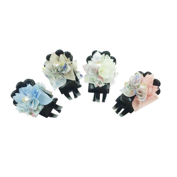 韓國 花卉系 玫瑰花 珍珠金色小點綴 小碎花 渲染 4色 鯊魚夾三爪夾