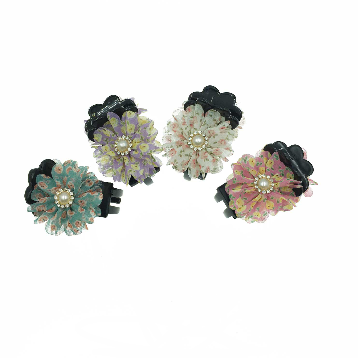韓國 花卉系 珍珠 水鑽 小碎花 復古感 4色 鯊魚夾三爪夾