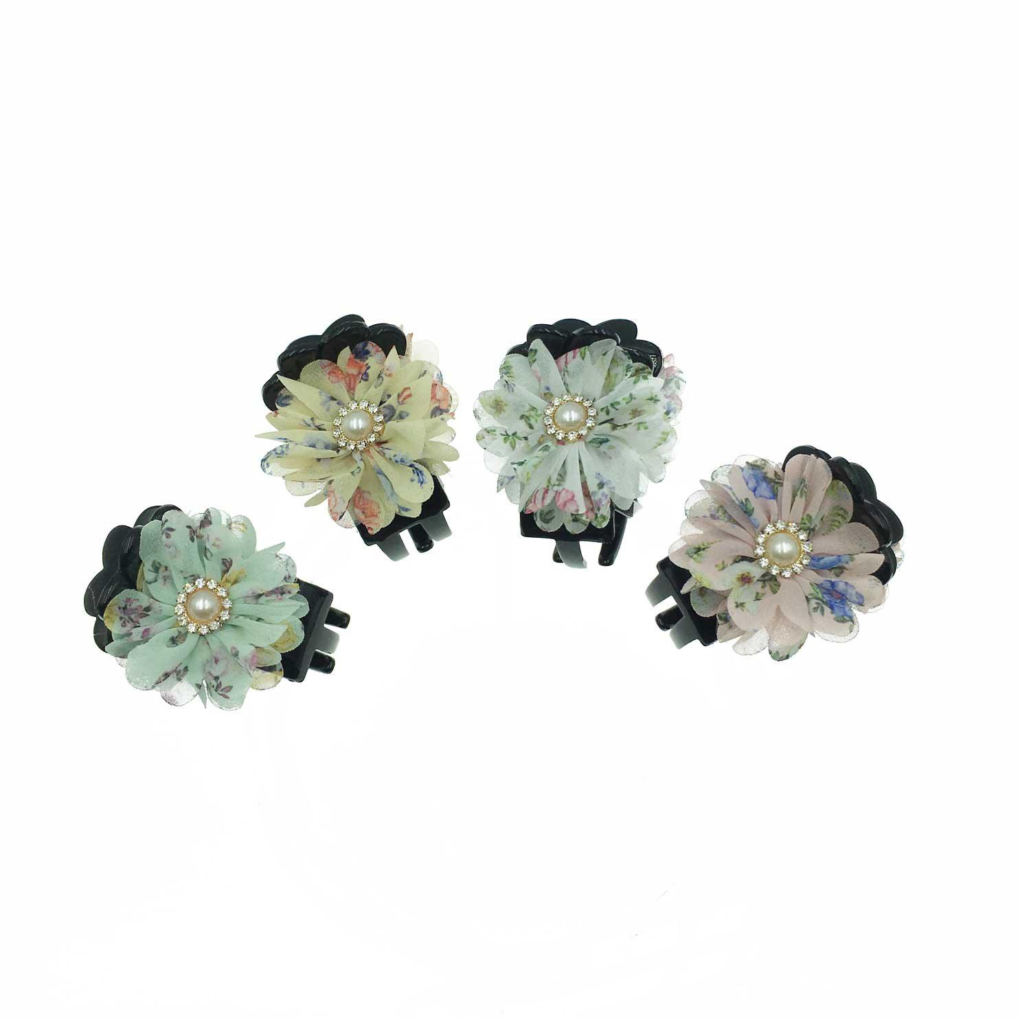 韓國 花卉系 珍珠 水鑽 小碎花 渲染 4色 鯊魚夾三爪夾