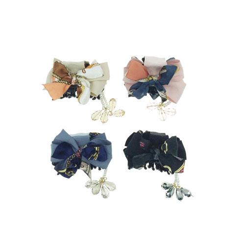 韓國 小香風 圖騰 蕾絲 蝴蝶結 垂墬珍珠 點墬水晶 3色 鯊魚夾
