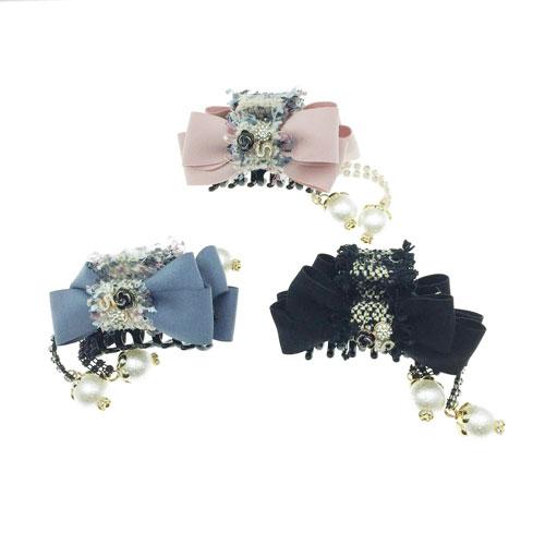 韓國 小香風 山茶花 蕾絲 蝴蝶結 垂墬珍珠 3色 鯊魚夾