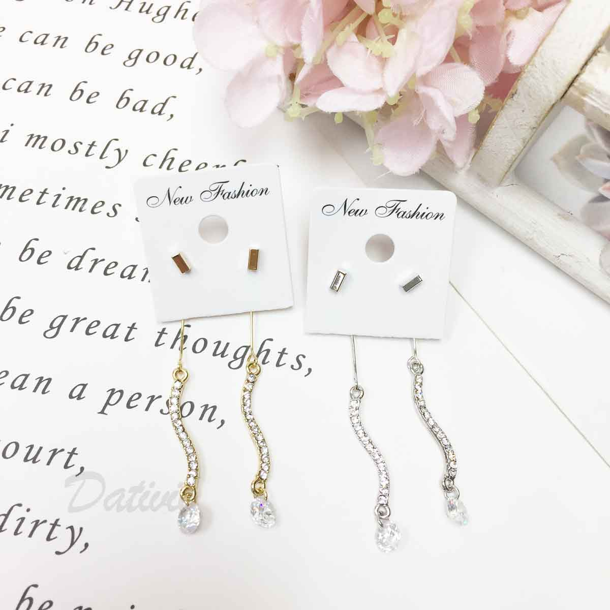 小金屬條 流線 水鑽 華麗款 金銀2色 垂墜感 耳針式耳環