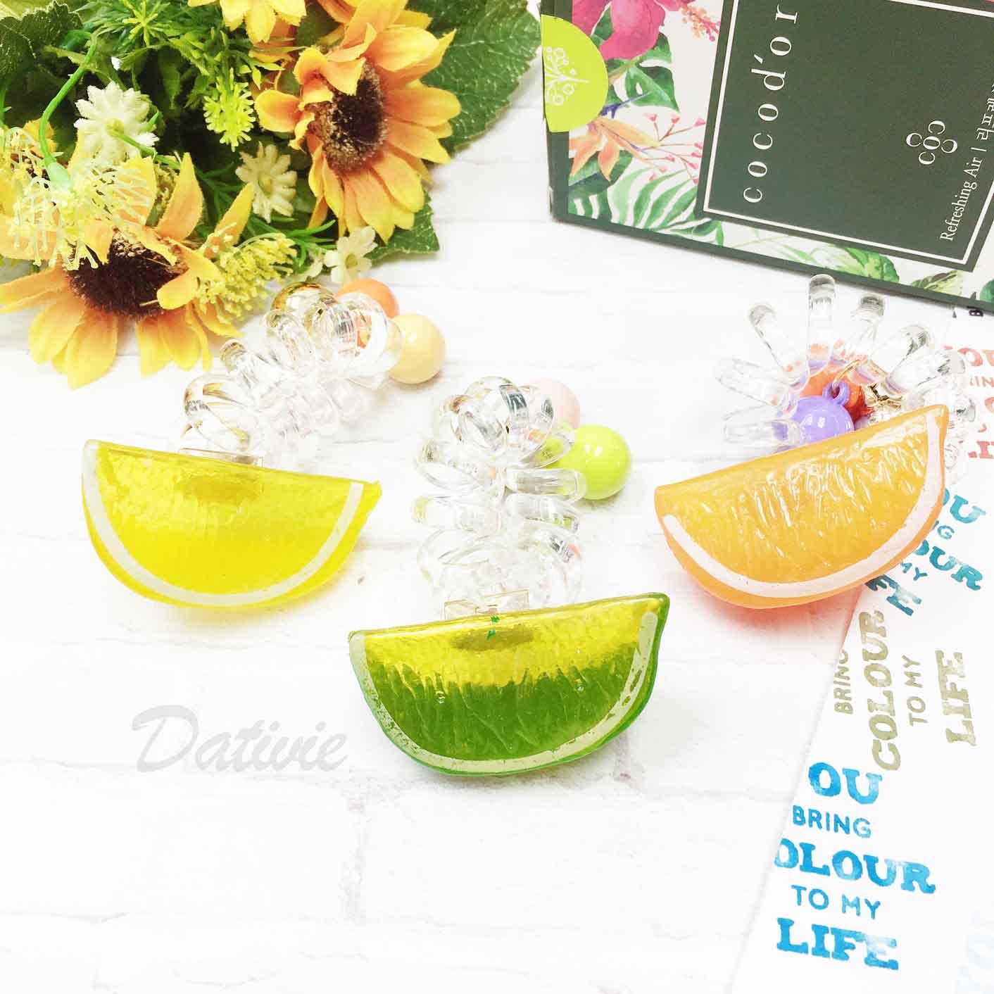 水果 檸檬 柳橙 橘子 鈴鐺 糖果色球 透明 電話線 混色 兩入組 髮飾 髮束 髮圈