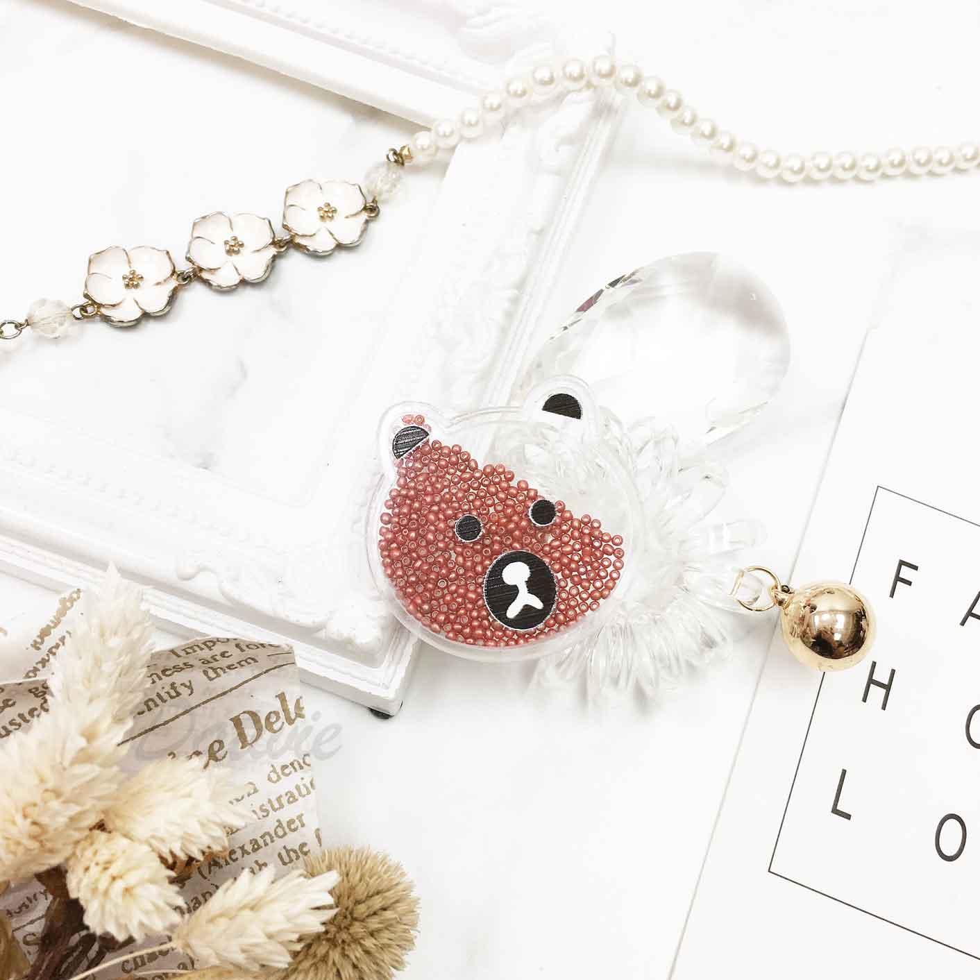 可愛熊熊 小熊臉 小珠珠 夾心 鈴鐺 透明 電話線 髮飾 髮束 髮圈