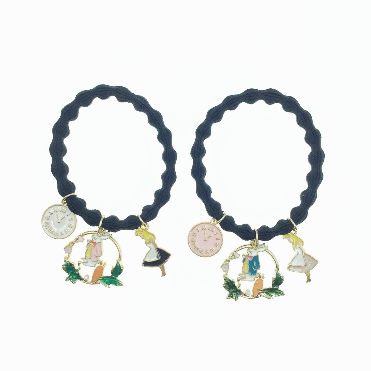 韓國 童話愛麗絲造型 時鐘 兔子 花圈 可愛繽紛 珍珠髮束