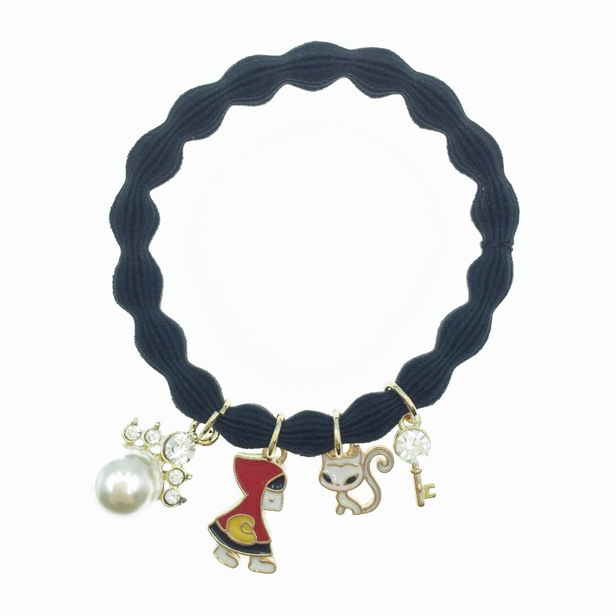 韓國 童話小紅帽造型 貓咪 鑰匙水鑽 可愛繽紛 珍珠水鑽髮束