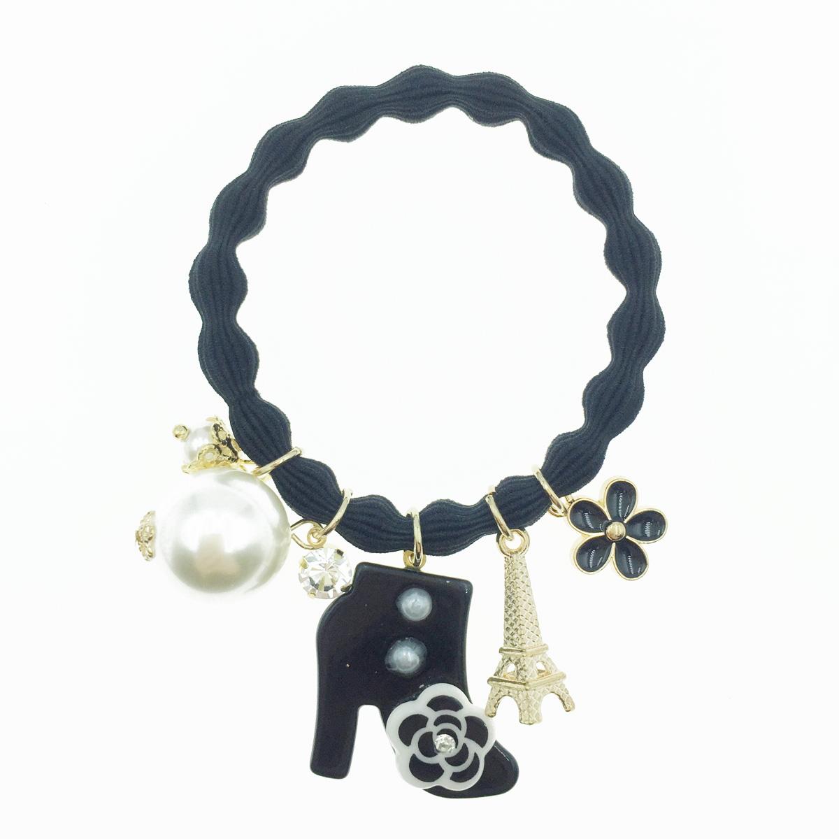 韓國 小香風 靴子 鐵塔 花朵 珍珠水鑽髮束