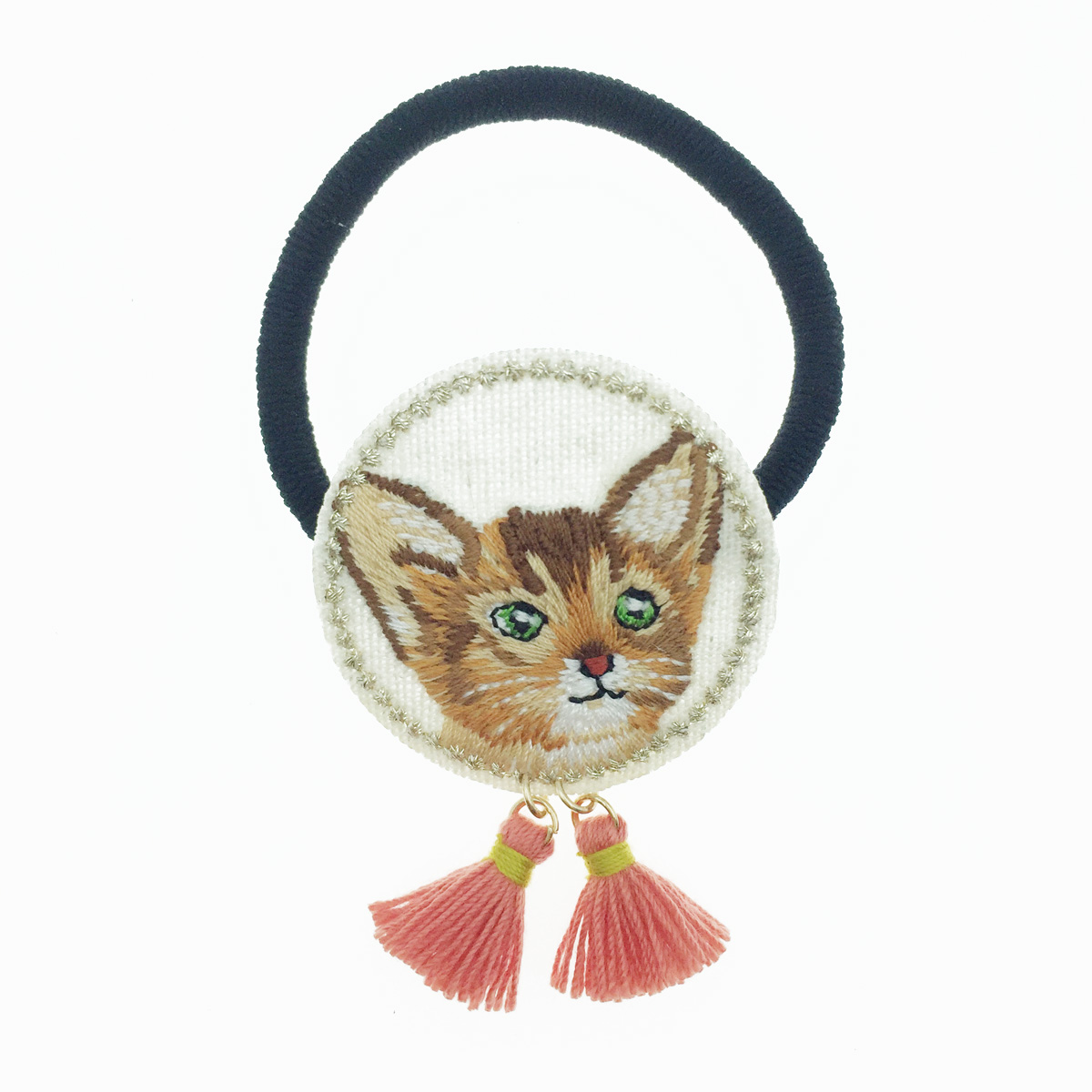 韓國 貓咪 立耳朵 可愛動物 圓型 刺繡 流蘇 髮圈 髮束