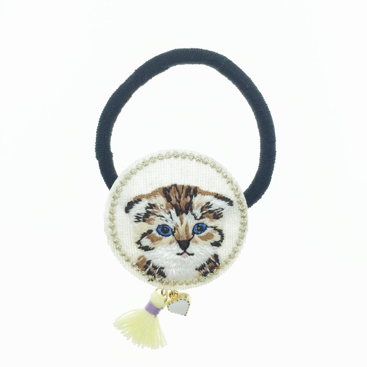 韓國 貓咪 藍眼睛 可愛動物 圓型 刺繡 流蘇 愛心 髮圈 髮束