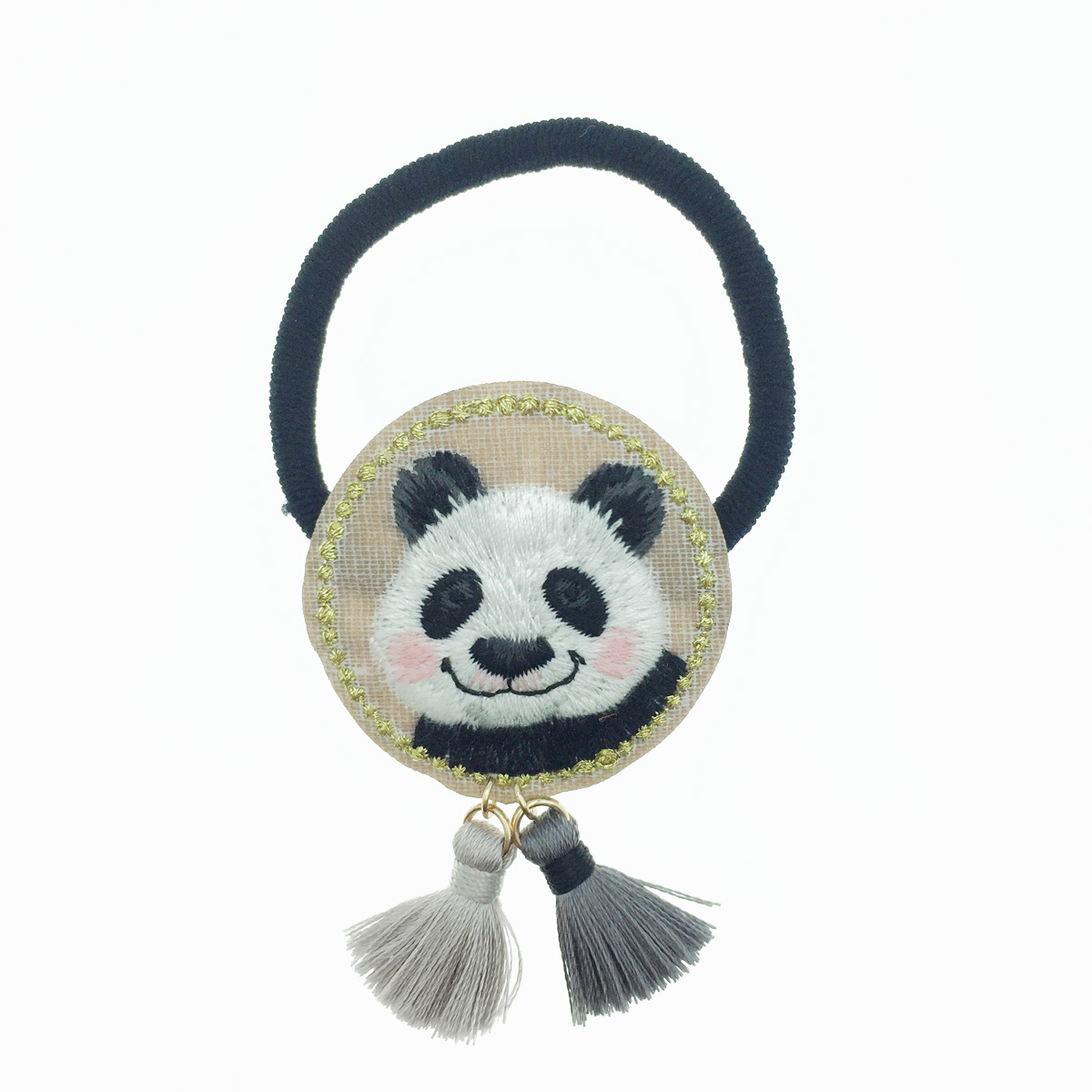 韓國 熊貓 可愛動物 圓型 刺繡 流蘇 髮圈 髮束