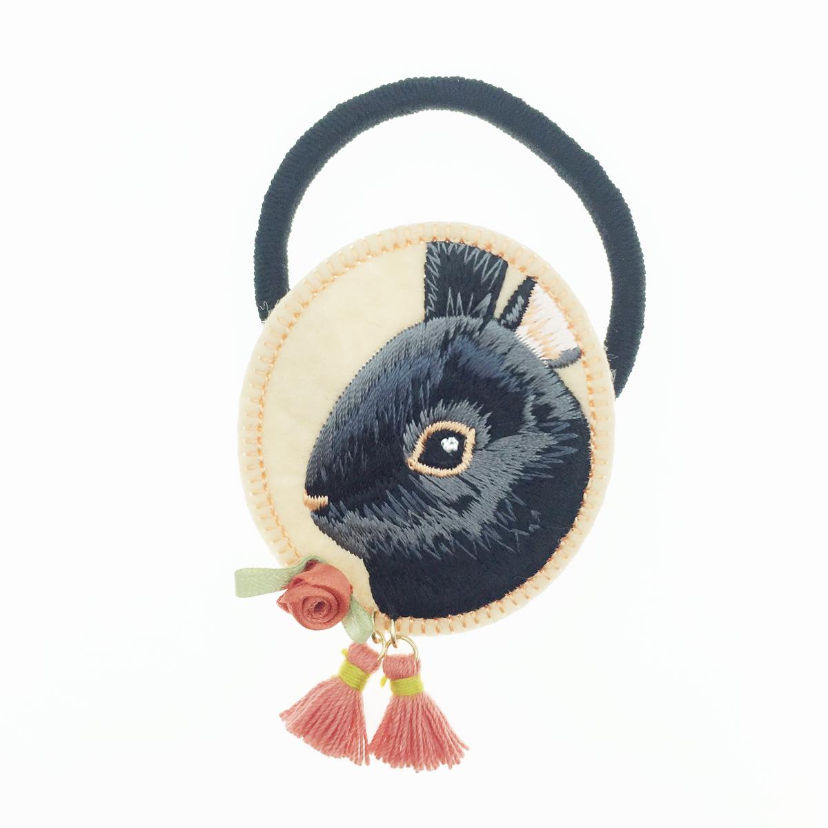 韓國 兔子 可愛動物 橢圓 刺繡 流蘇 玫瑰花 髮圈 髮束