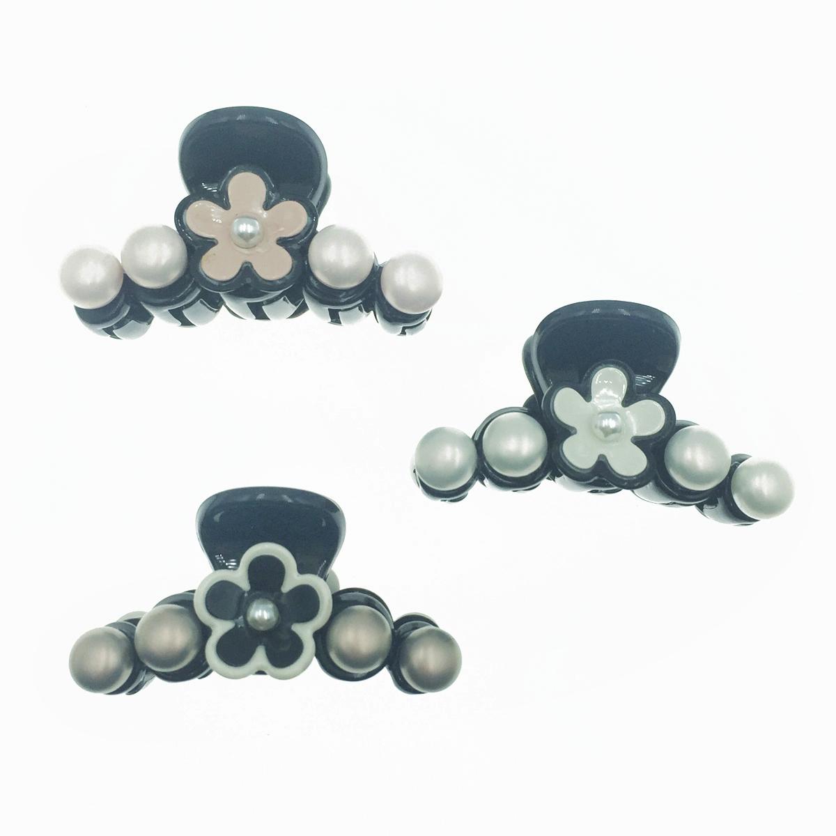 小香風 山茶花 珍珠 排珠 黑 白 粉 3色 簡約 髮飾 小鯊魚夾