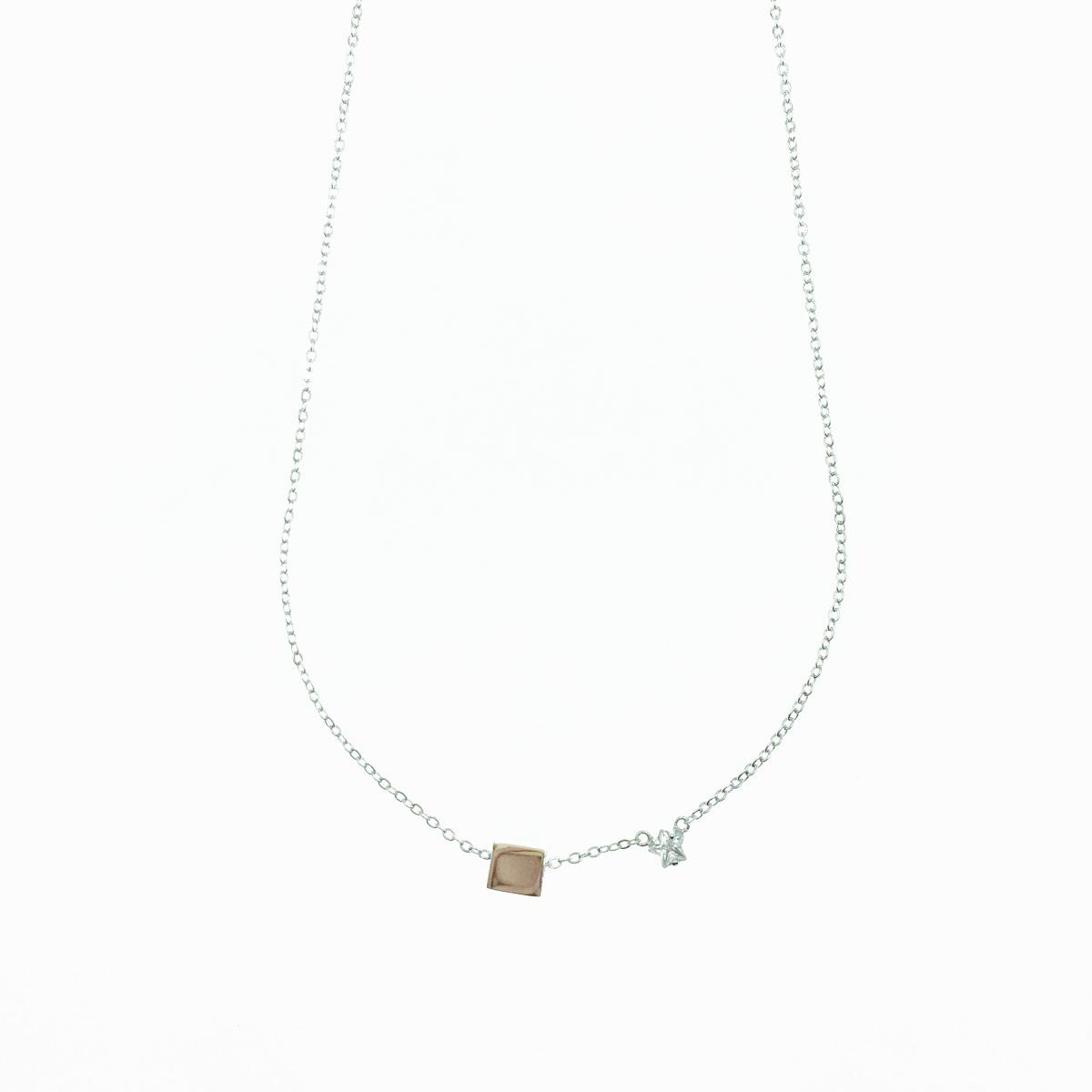 韓國 星星 水鑽 金屬方塊 百搭 簡約 項鍊