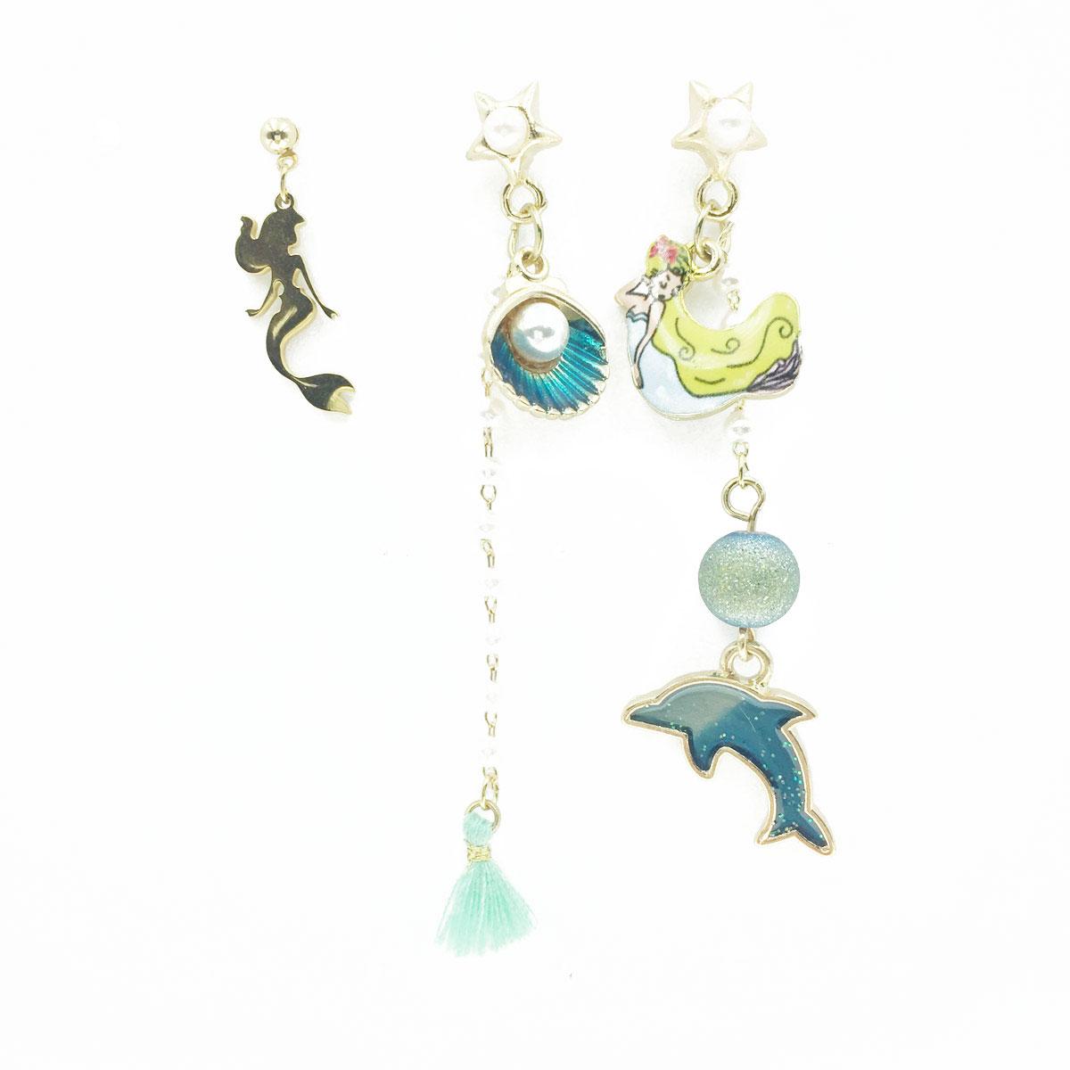 韓國 不對稱 刺繡 燙布貼 美人魚 貝殼 海豚 珍珠 流蘇 垂墜感 3入 耳針式耳環