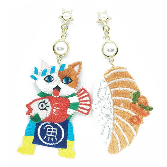 韓國 不對稱 刺繡 燙布貼 老闆 生魚片 壽司 垂墜感 耳針式耳環