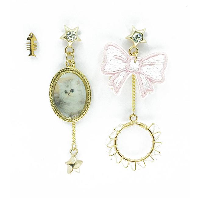 韓國 不對稱 刺繡 燙布貼 蝴蝶碟 貓咪相框 星星 珍珠 鑽 流蘇 魚骨頭 垂墜感 3入 耳針式耳環
