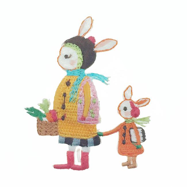 韓國 刺繡 燙布貼 媽媽 小孩 買菜 胸針 別針