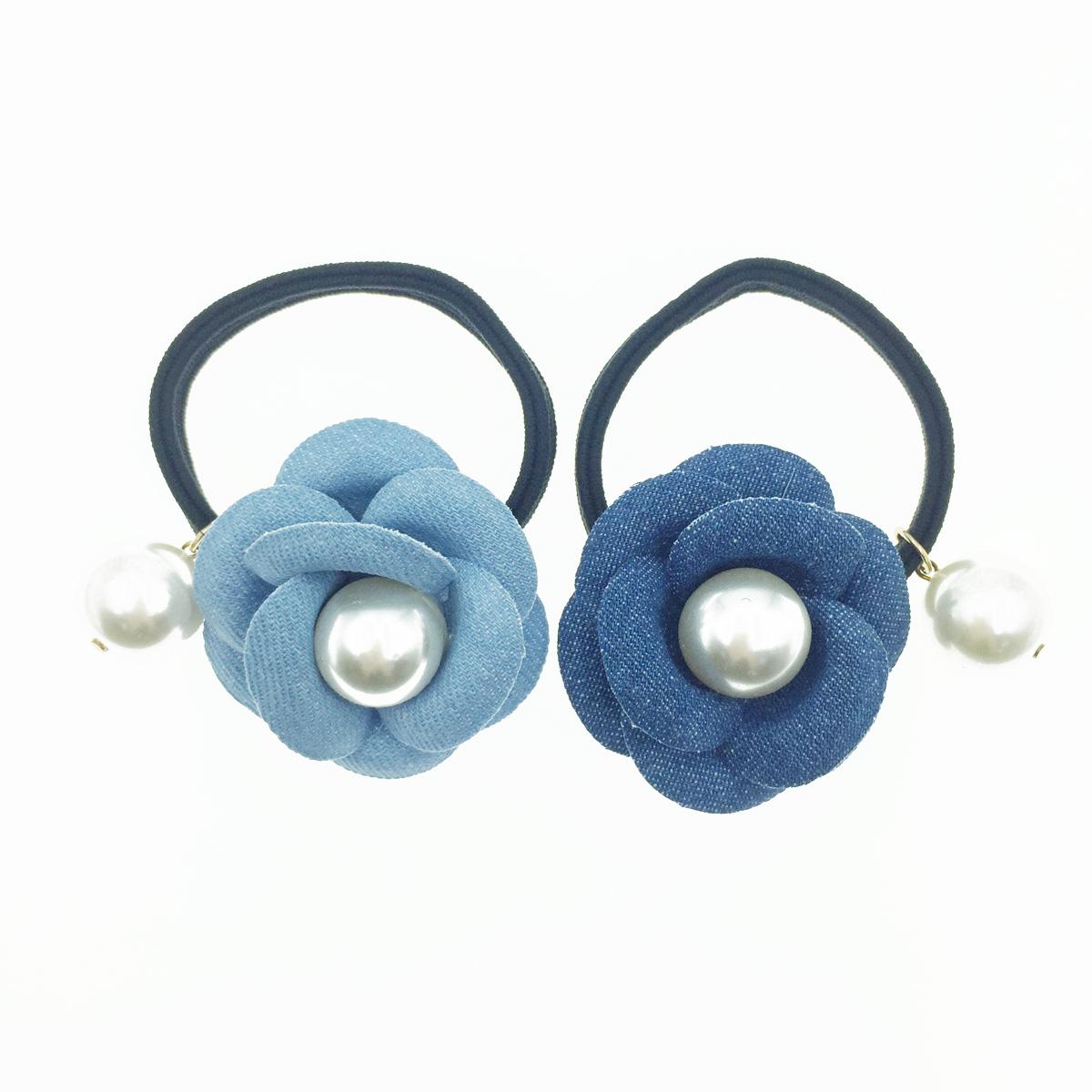 韓國 小香風 山茶花 珍珠 牛仔布 兩色 深藍淺藍 髮飾 髮束