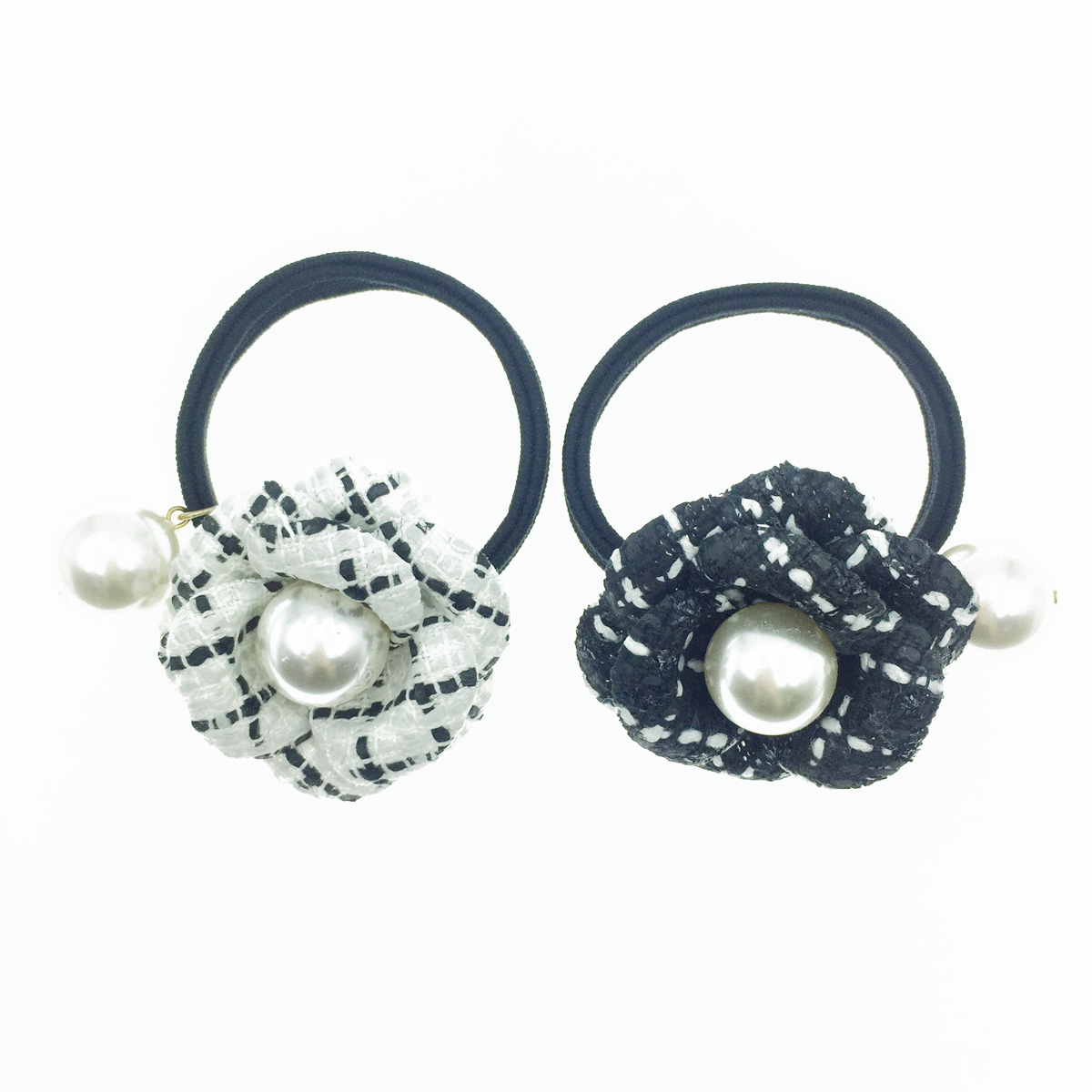 韓國 小香風 山茶花 珍珠 黑白 編織 氣質優雅 髮飾 髮圈
