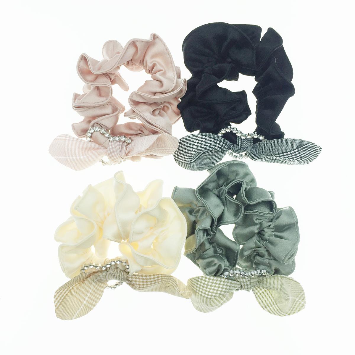 韓國 格紋 格子 蝴蝶結 簍空愛心 水鑽 可愛甜美 4色 髮飾 髮圈 大腸圈