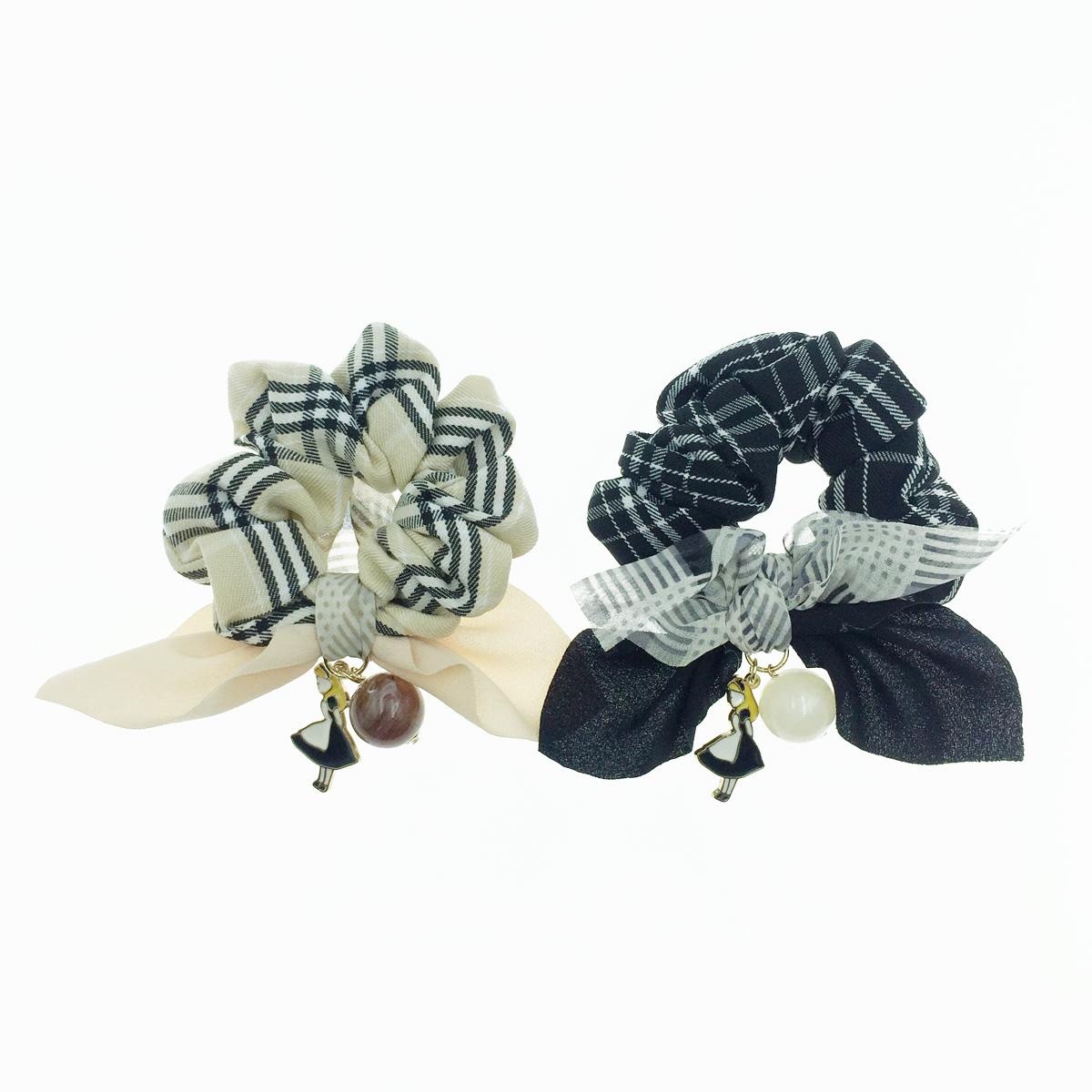 韓國 蘇格蘭紋 蝴蝶結 愛麗絲 大理石感 垂墜寶石 2色 髮飾 髮圈 大腸圈