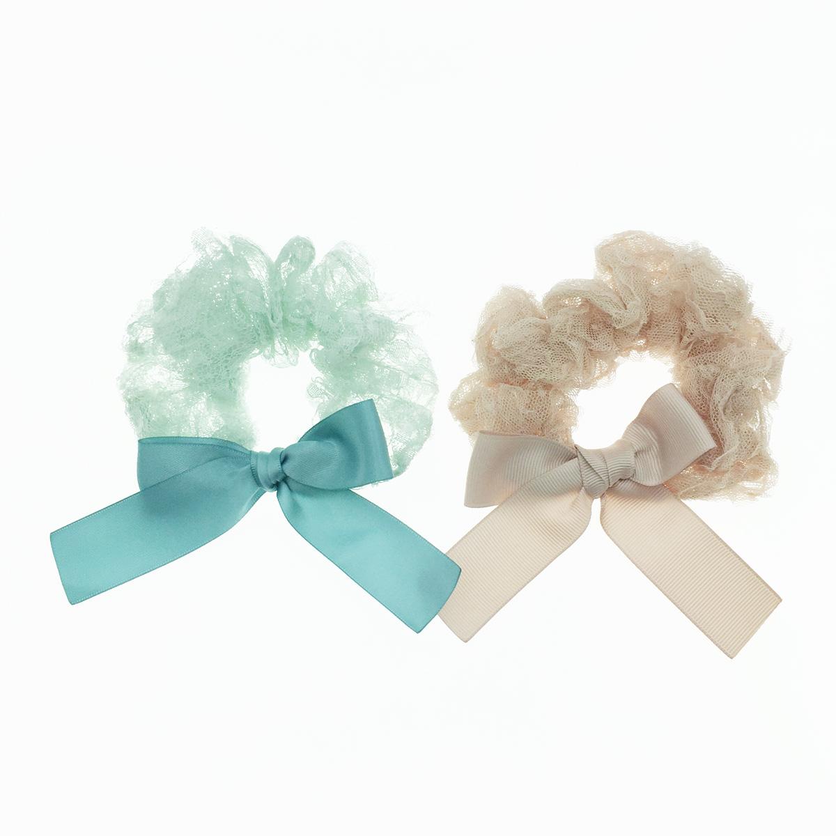 韓國 蕾絲 蝴蝶結 素色百搭 甜美款 2色 髮飾 髮圈 大腸圈