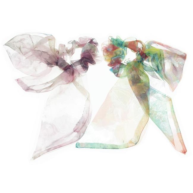 韓國 透紗 暈染花 蝴蝶結 2色 髮飾 髮圈 大腸圈