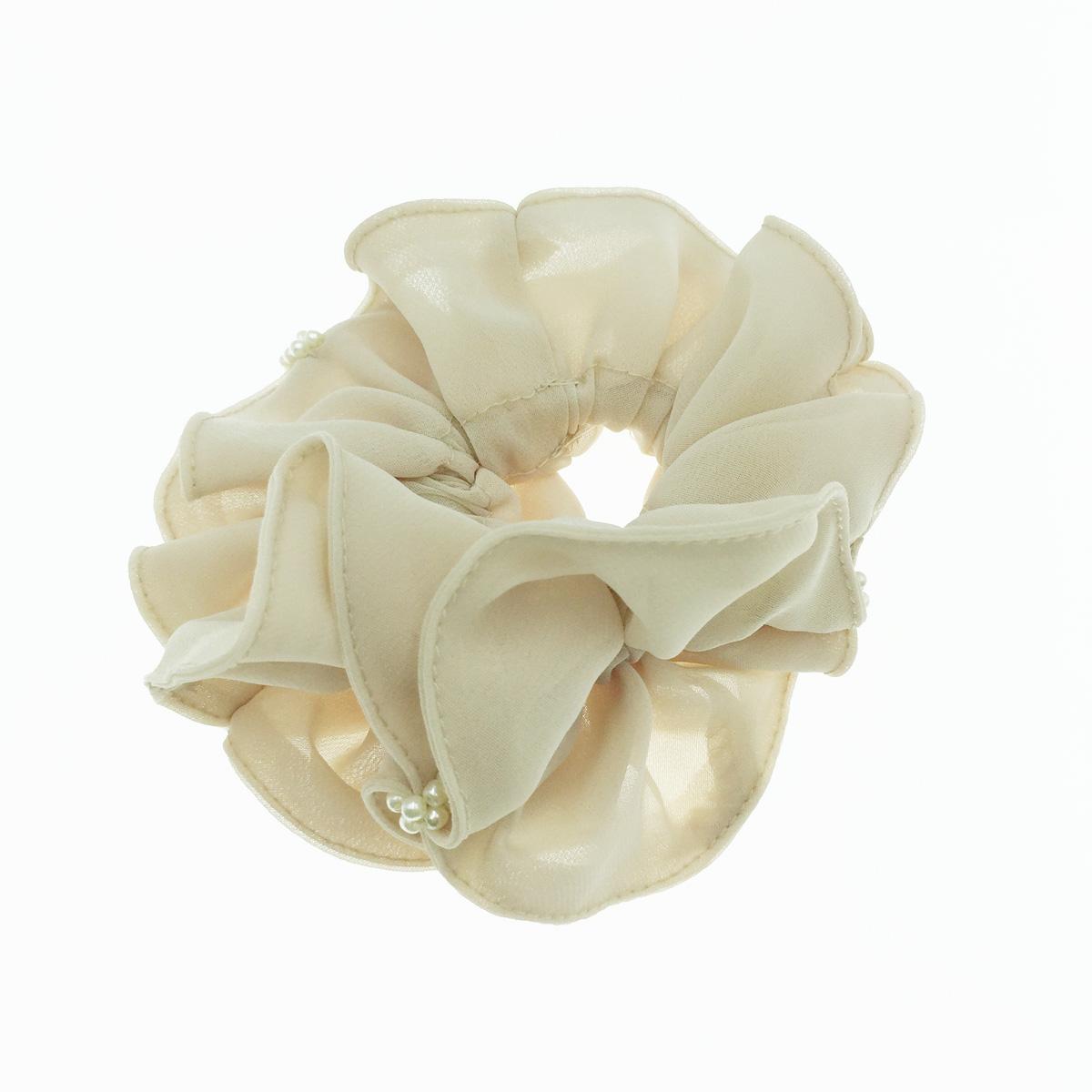 韓國 紗 珍珠 素色 百搭 甜美氣質 髮飾 髮圈 大腸圈