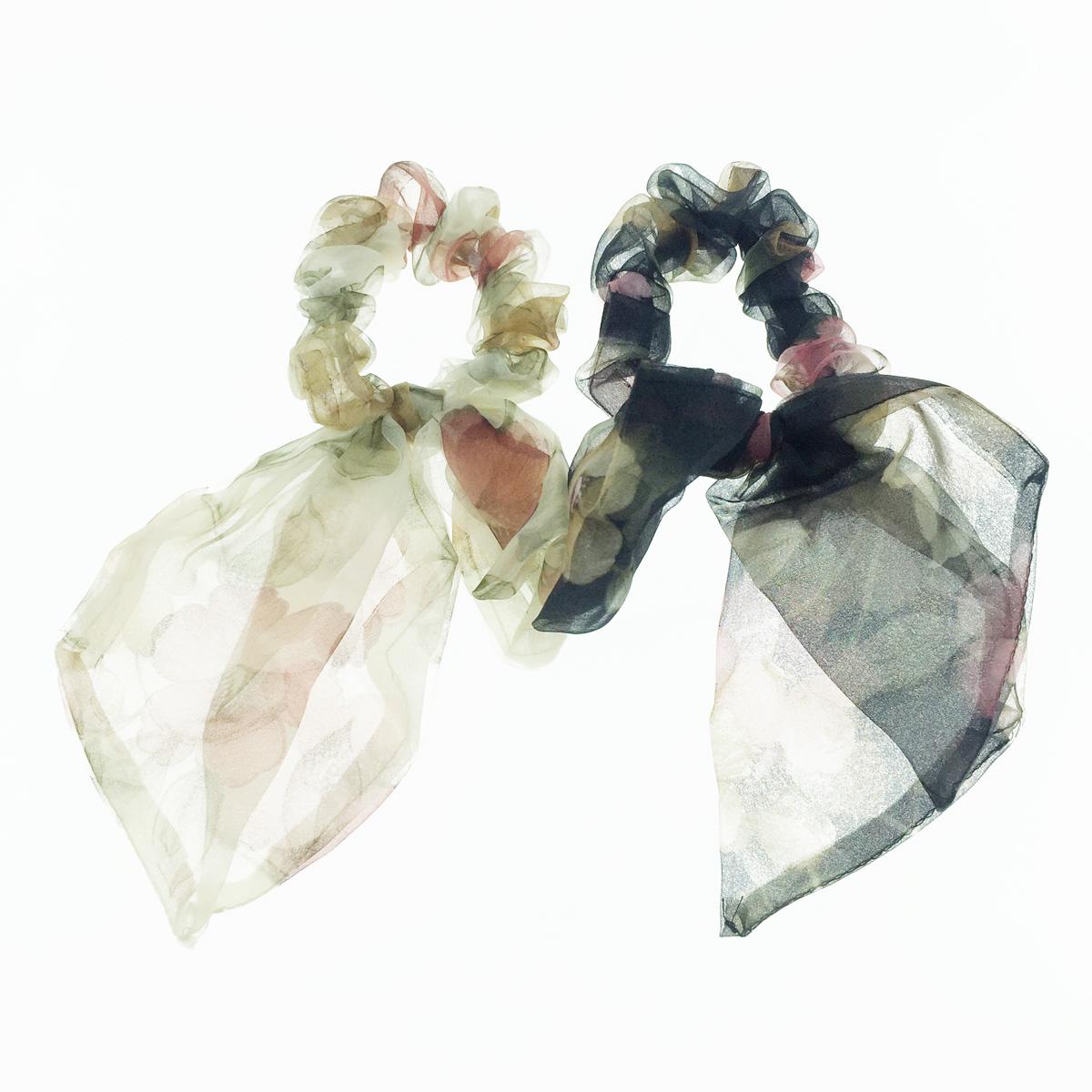 韓國 紗 花 蝴蝶結 氣質甜美 2色 髮飾 髮圈 大腸圈