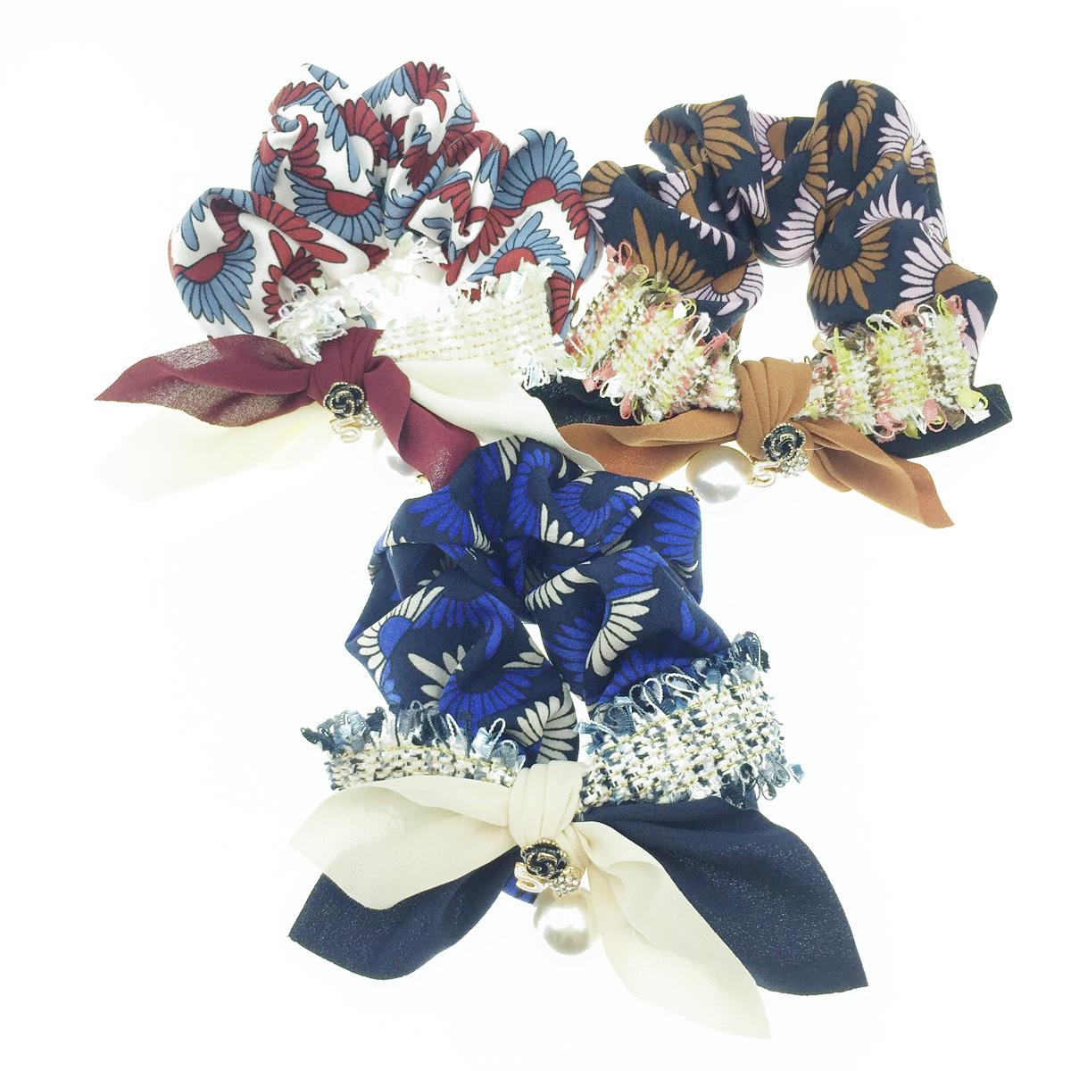 韓國 花圖騰 小香風 垂墜珍珠 水鑽 蝴蝶結 多色編織 三色 髮飾 髮圈 大腸圈