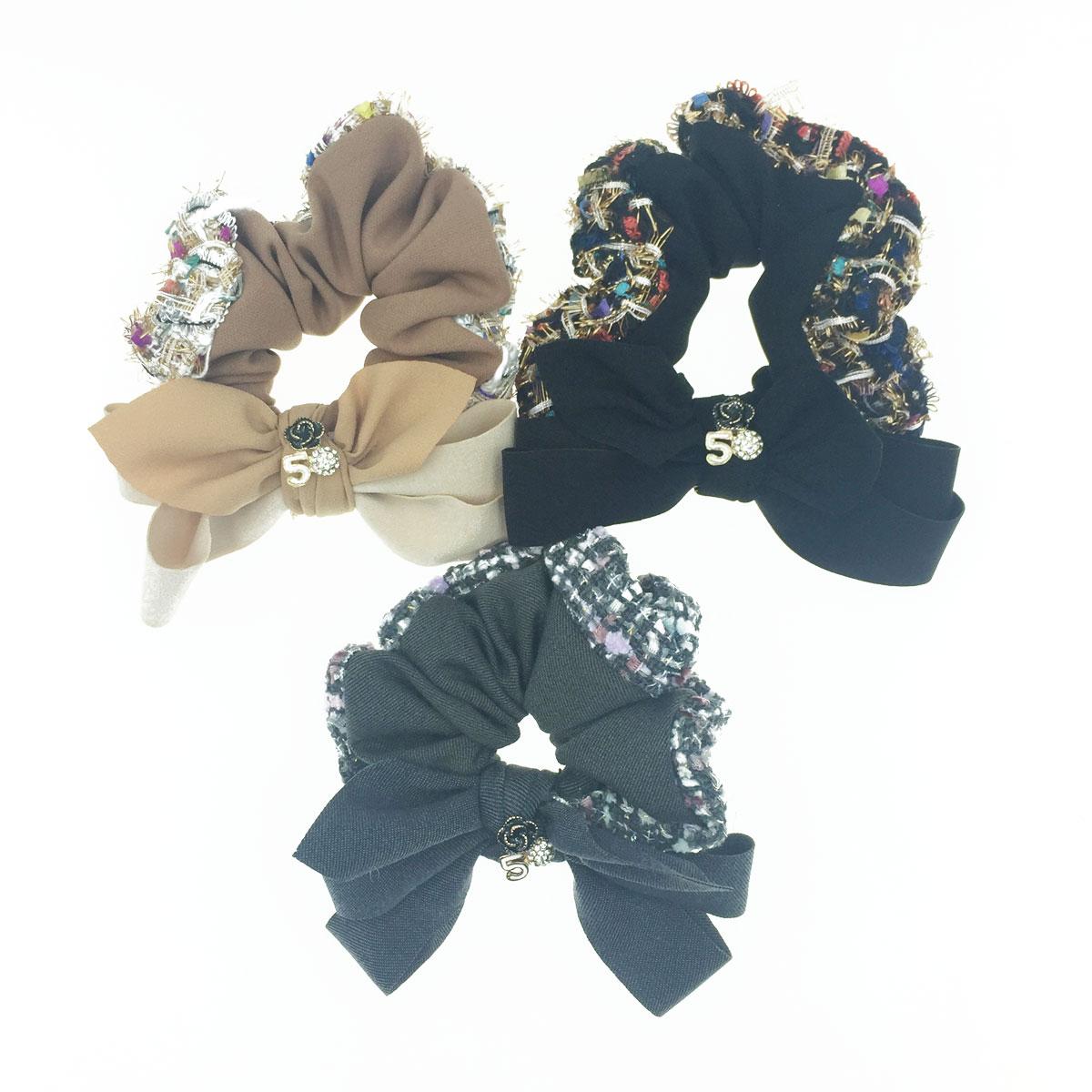 韓國 小香風 蝴蝶結 山茶花 球鑽 數字5 彩色編織 3色 髮飾 髮圈 大腸圈